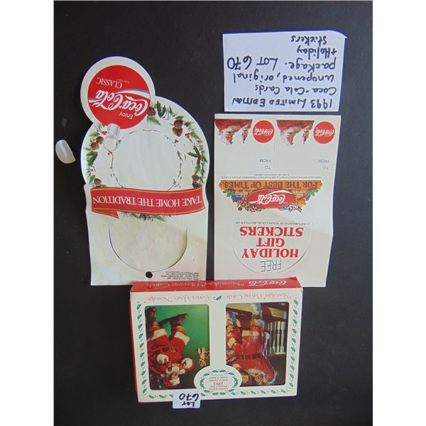 670 1993 UPOPENED LIMITED EDITION COCA COLA CARDS AND HOLIDAY STICKERS