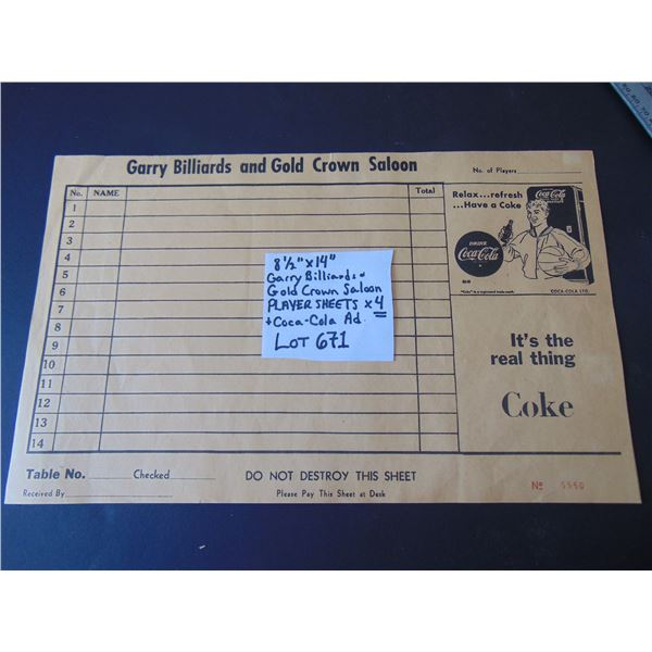 671 4 GARRY BILLIARDS & GOLD CROWN SALOON PLAYER SHEETS COKE AD