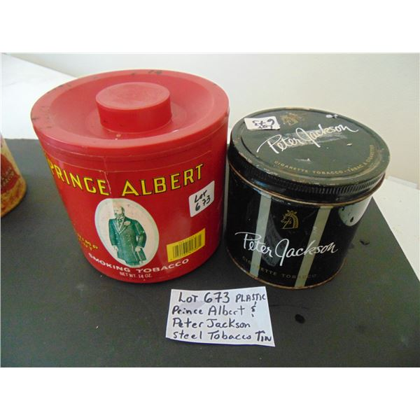 673 PLASTIC PRINCE ALBERT & STEEL PETER JACKSON TOBACCO CONTAINERS
