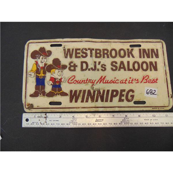682 VINTAGE WESTBROOK INN & DJ'S SALLON WINNIPEG. license plate