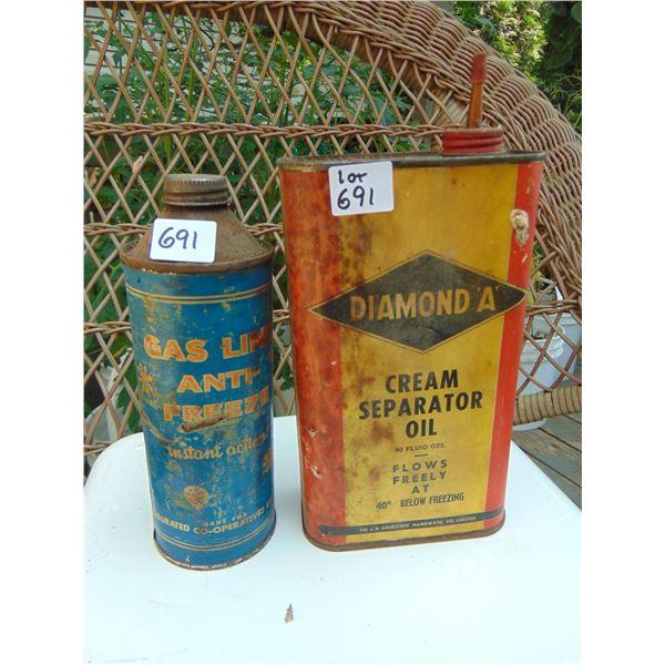 691 DIAMOND A PAPER LABEL CREAM SEPATOR OIL TIN & COOP GASLINE ANTIFREEZE