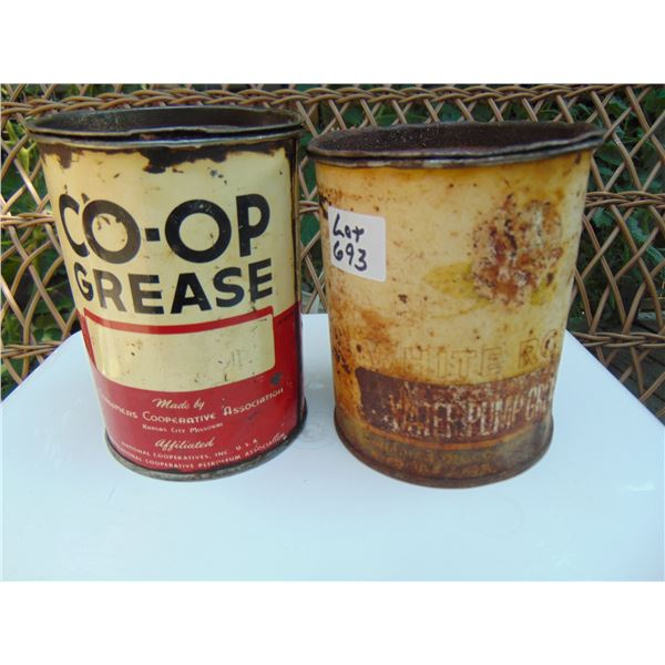 693 CO-OP AND VERY FADED WHITE ROSE 1LB GREASE TINS
