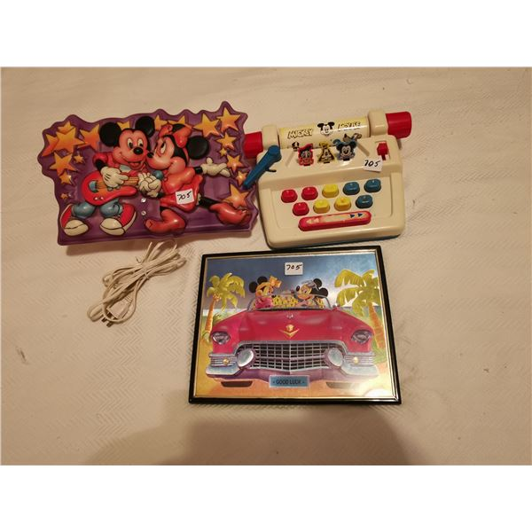 Mickey Mouse typewriter, light & picture