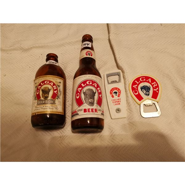 2 Calgary beer bottles 2 openers