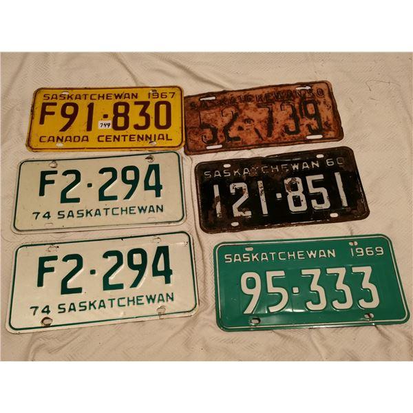 6 plates - 1950, 1960, 67, 69, 74