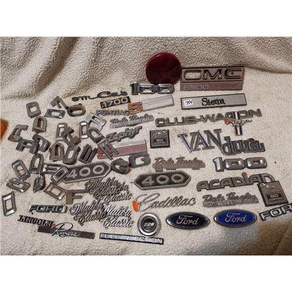 Vintage emblem lot, Dodge & Ford letters