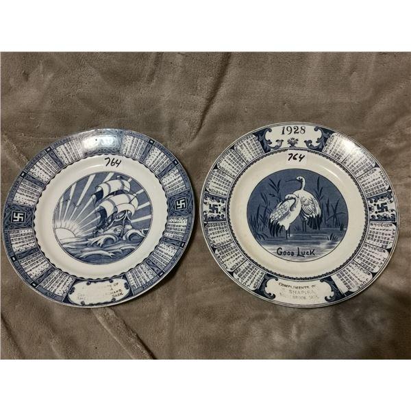 1928 & 1930 Calendar plates from Shellbrook, SK