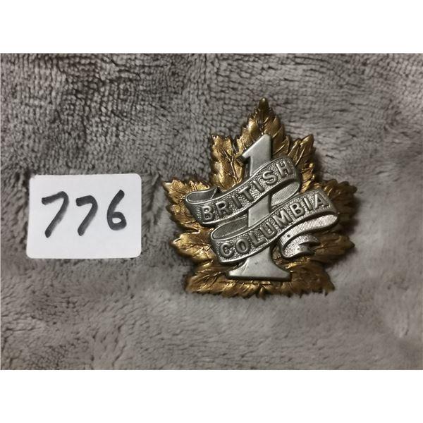 #1 B.C. regiment badge