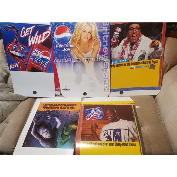 "5 Pepsi advertising 17"" X 28"" each"