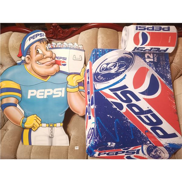 "2 Pepsi cardboard ads 32"" & 35"""