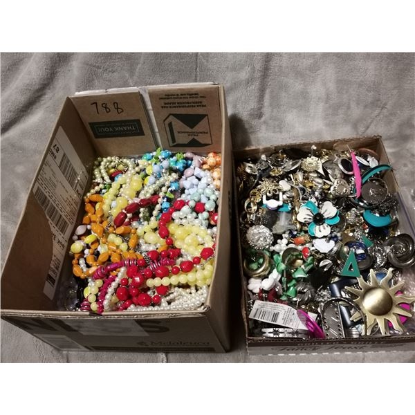Two trays of arts & crafts jewelry