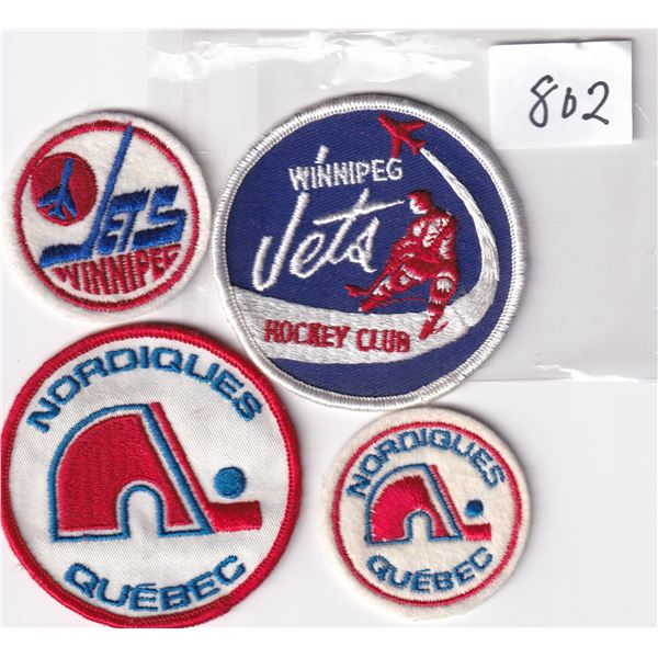 4 Unused WHA Crests Winniped Jets and Quebec Nordiques