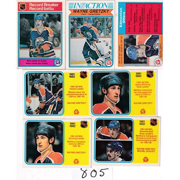 Lot of 7 1982-83 Wayne Gretzky OPC Cards
