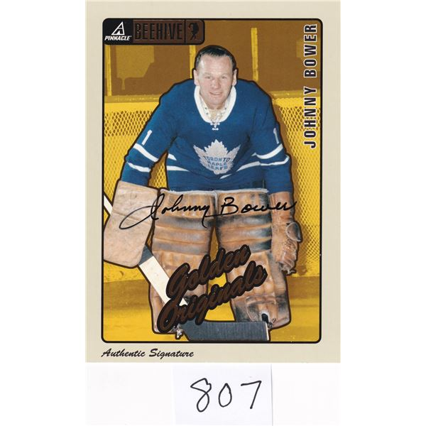 Pinnacle Beehive Johnny Bower Autograph