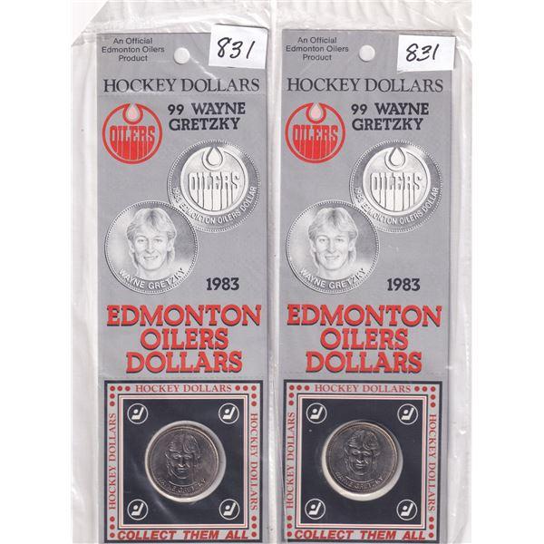 (2) 1983 Edmonton OIlers Hockey Dollars Wayne Gretzky