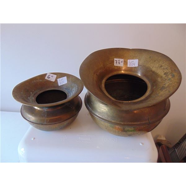 """854 COPPER 6"""" AND 7 ½ """" PERSONAL COPPER SPITOONS"""