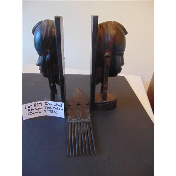 """859 IRON WOOD AFRICAN 9"""" TALL BOOK ENDS AND COMB"""