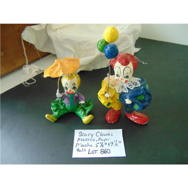 860 TWO MEXICO PAPER MACHE SCARY CLOWNS
