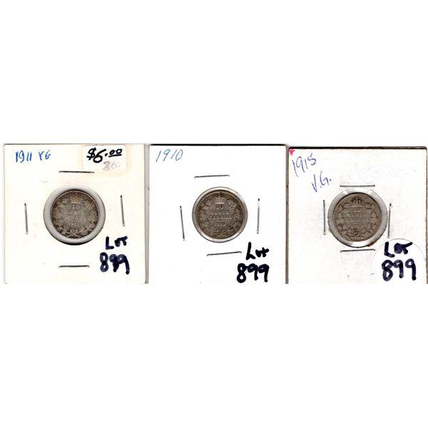 899 1910 1911 1915 10 CENT PIECES