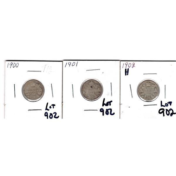902 1900 1901 1902H 10 CENT PIECES