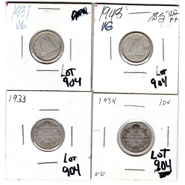 904 1933 1934 1937 1947 10 CENT PIECES