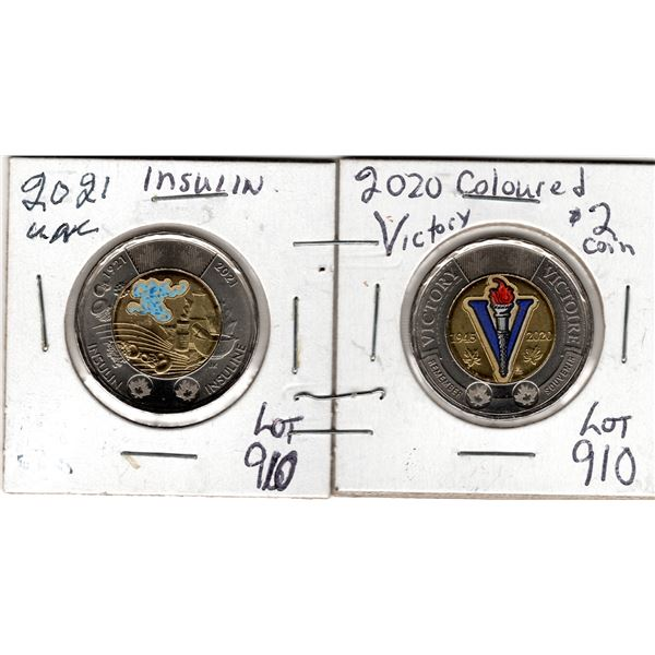 910 2020 VICTORY & 2021 INSULIN $2 COINS