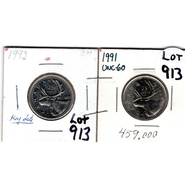913 SCARCE 1991 1992 LOW MINTAGE 25 CENT PIECES