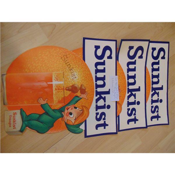 920 THREE PAPER SUNKIST ORANGES STRING HANGER ADVERTISING SIGNS
