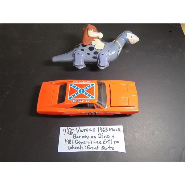 925 1963 MARX BARNEY TOY AND 1981 GENERAL LEE FOR PARTS
