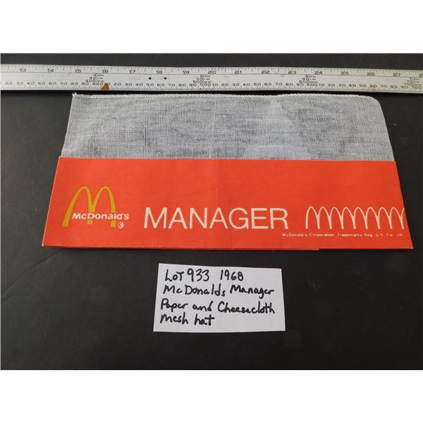933 1968 PAPER/MESH MCDONALDS MANAGERS HAT