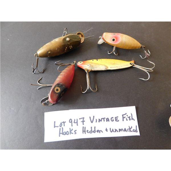 947 VINTAGE FISH HOOKS HEDDON AND UNMARKED