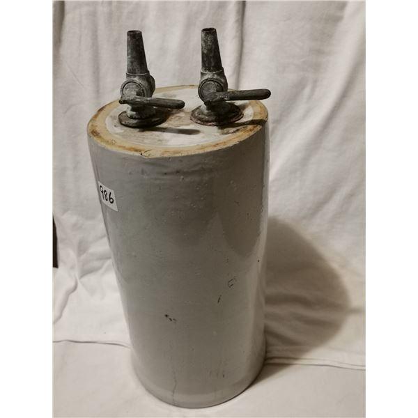 """Antique crock dispenser, 14"""" high"""