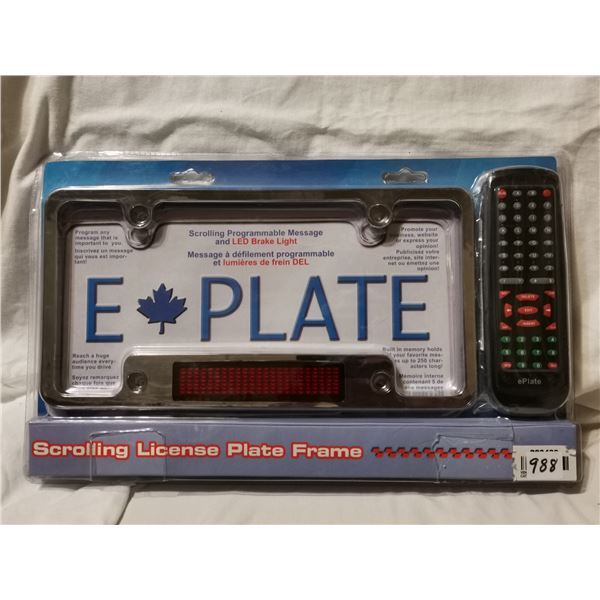 E-Plate scrolling license plate frame