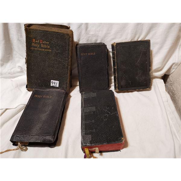 5 English antique bibles