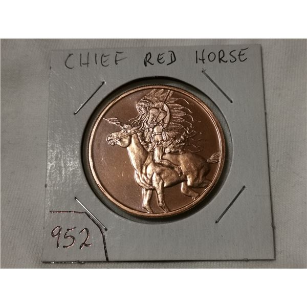 1 oz copper, Chief Red Horse, American Indian series