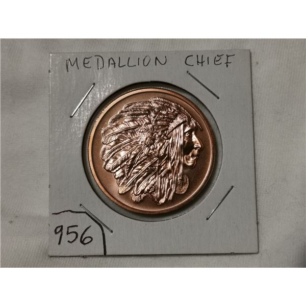 1 oz copper, Medallion Chief, American Indian series
