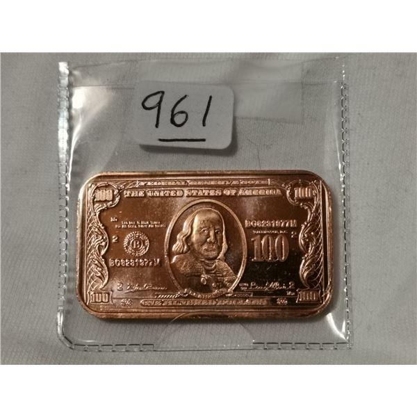 1 oz copper $100.00