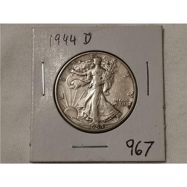 1944D Silver half dollar, walking liberty