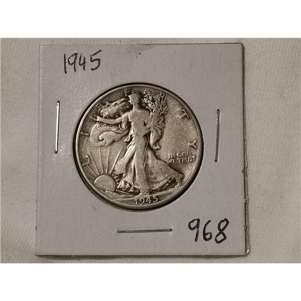 1945 silver half dollar, walking liberty