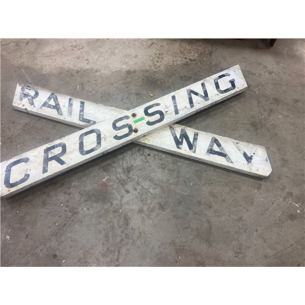 """Railway crossing sign wooden 70"""" long original from Foxford, SK"""