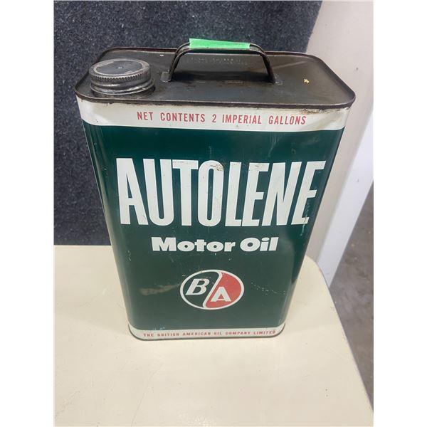 B/A Autolene 2 gallon motor oil tin