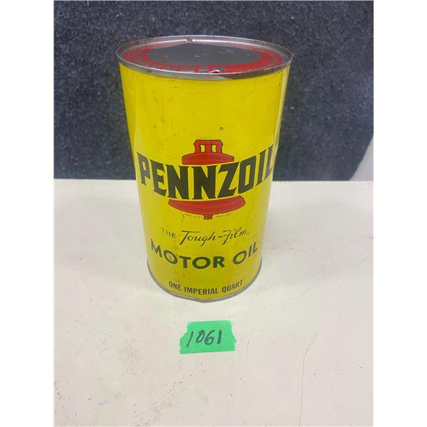 Pennzoil motor oil tin 1 quart
