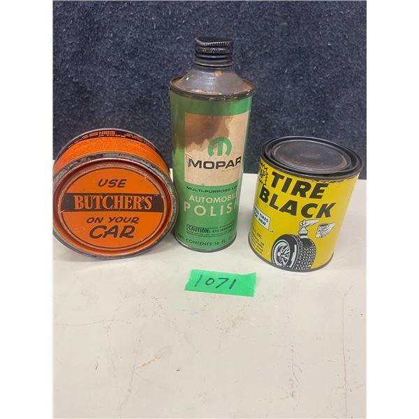 3 tins, Mopar polish, Butchers wax, Tire black 16 oz