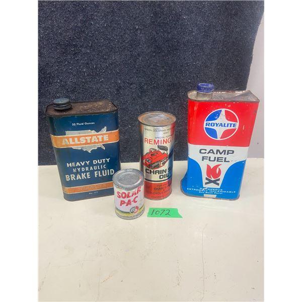 4 oil tins, B/A, Royalite, Allstate, Remington
