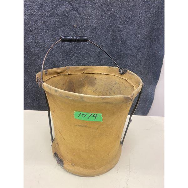 """Canvas water pail, folding 10"""" X 11"""" rare & unique no leaks"""