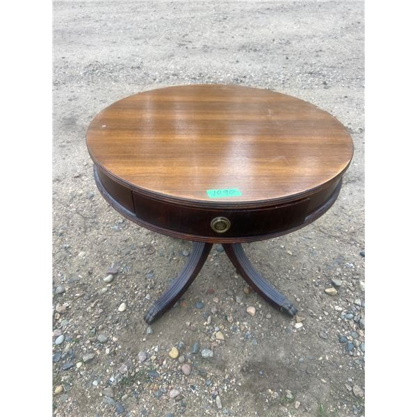 """Round Duncan Phyfe end table with drawer 26"""" across, 22"""" high"""