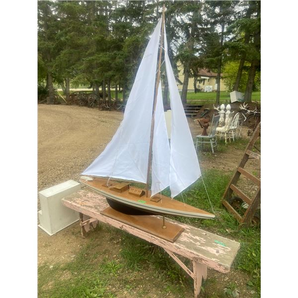 """Wooden sail boat 67"""" long total height 70"""" to top of sail. Well crafted"""