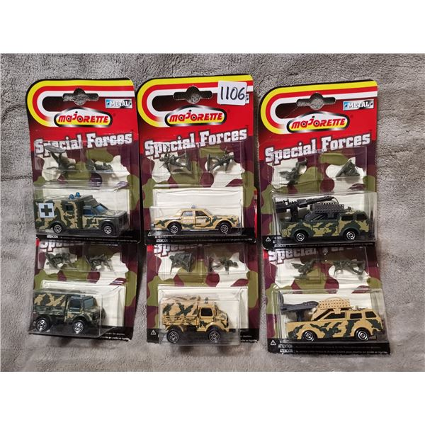 Majorette army vehicles with soldiers, 6 piece
