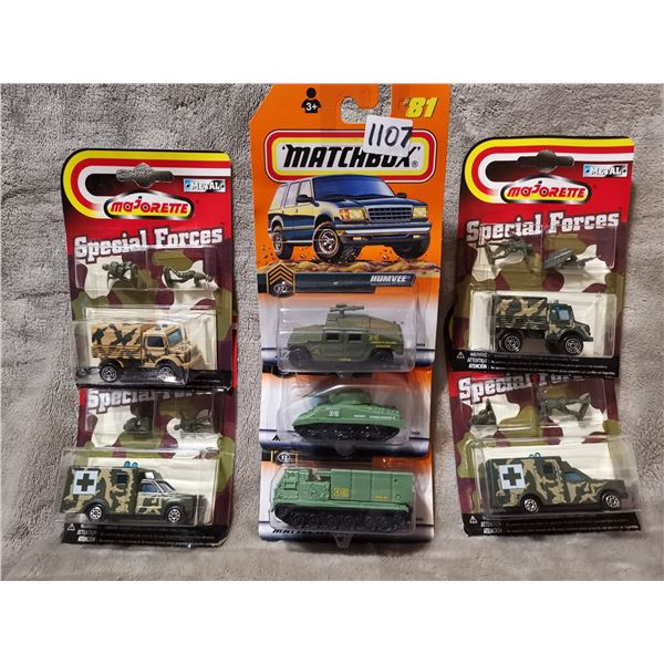 Majorette and Matchbox army vehicles, 7 piece