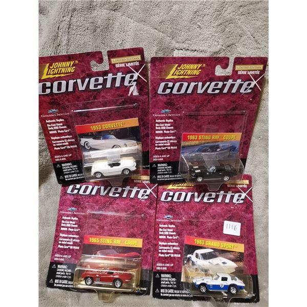 4 Johnny Lightning Corvettes